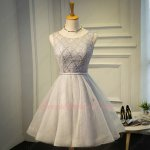 Scoop Neck Pearl Decorate Silver Lace Knee Length Maiden Homecoming Dress Shop