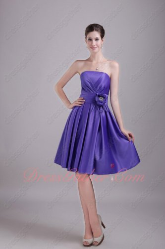Strapless Ruching Blue Violet 2020 New Trend Color Short Prom Dress Wedding Guest