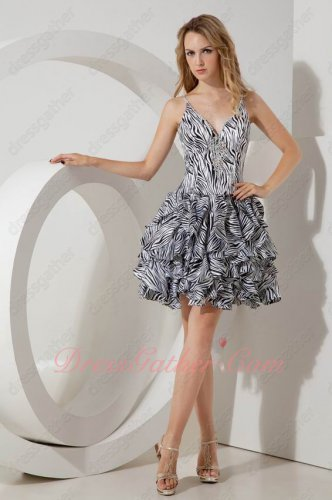 Spagetti Straps Zebra Ruffles Casual Pub Party Dress Girl Homecoming Dress