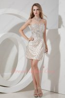 Full Silver Crystal Package Haunch Knee Length Champagne Taffeta Lady Prom Dress