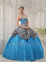 Pick Up Zebra Overlay Flat Aqua Blue Girls Quinceanera Ball Gown Inexpensive