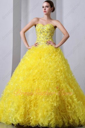 Bright Yellow Rape Flower Corset Back Ruffles Skirt Quiceanera Dress Cheap