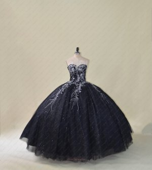 Silver Embroidery Black Sparkle Tulle Puffy Quinceanera Ball Gown Cheap Price