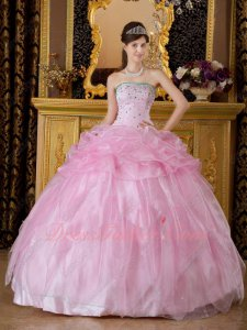 Half Bubble Half Inverted Triangle Ruffles Pink Ball Gown For Quinceanera