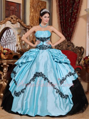 Half Baby Blue Taffeta Half Black Flat Tulle Quinceanera Ball Gown With Embroidery