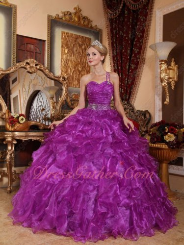 Single One Shoulder Bright Purple Dense Ruffles Military Ball Gown Concert