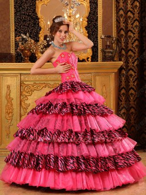 Beautiful Hot Pink and Zabra Alternate Layers Cakes Quinceanera Ball Gown Good Choice