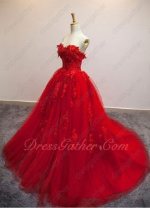 Appliques Scarlet Formal Ball Gown Stage Show Company Annual Meeting 2019 Year End