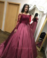 Off Shoulder Sheer Long Sleeves Burgundy Satin Court Train Ball Dress Young Girl