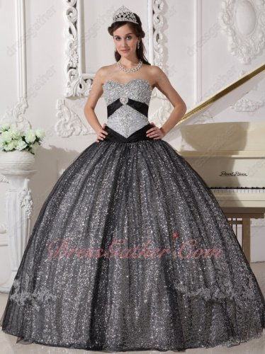 Silver Sparkling Sequin Basque Prom Quinceanera Dance Dress With Black Tulle