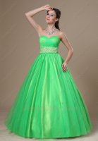 Satin and Tulle Spring Green Quinceanear Ball Gown Ribbon/Bowknot Back Decorat
