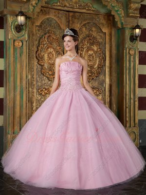 Customization Dull Dust Pink Plain Tulle Skirt Formal Ball Gown Quinceanera Queen