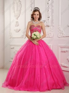 Hot Pink Gauze Mesh Handwork Sewing Beads Bodice Quinceanera Gown Princess