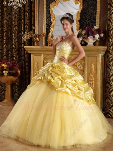 Printing Stripes Fabric Daffodil Half Bubble Half Mesh Quinceanera Ball Gown Amiable
