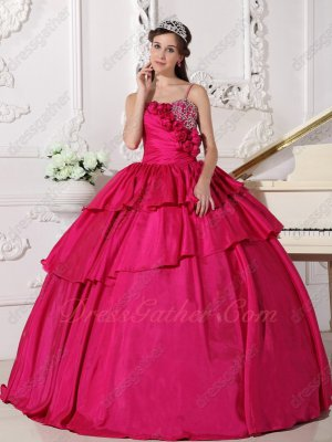 Magenta Deep Rose Pink Taffeta Spaghetti Straps Layers Best-selling