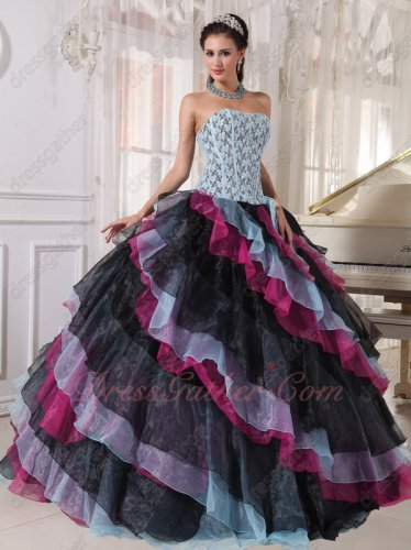 Multi-color Baby Blue/Black/Fuchsia Diagonal Organza Layers Ebay Quinceanera Ball Gown