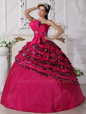 Quality Deep Fuchsia Zebra Fabric Quinceanera Ball Gown Factory to Customer
