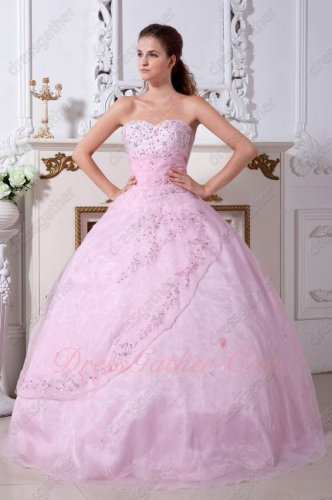 Pink Organza Embroidery Floor Length Tailor Quinceanera Dresses Alteration
