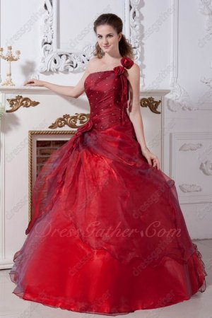 Special Price Wine Red Quinceanera Court Gown One Shoulder Strap With Rose Flowers