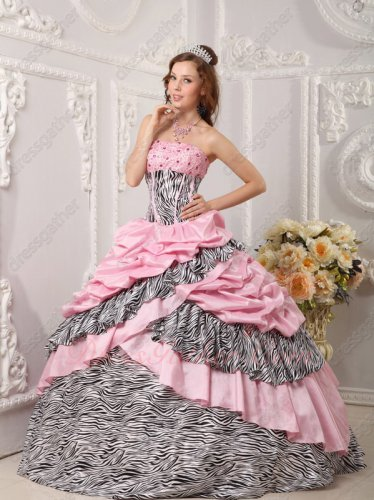 Lovely Pink Taffeta and Zebra Crossed Cake Skirt Quinceanera Bustle Ball Gown Spanish