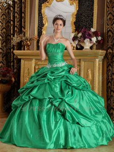 Deep Dust Spring Green Bulging Puffy Bubble Quinceanera Wear Ball Dress Promotion