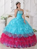 Half Aqua Blue and Half Fuchsia Cascade Layers Skirt Quinceanera Ball Gown Maiden
