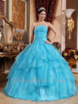 Crossed Cascade Layers Aqua Blue Organza Puffy Ball Gown 2019 Sweet 16 Party
