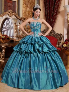 Princess Floor Length Teal Taffeta Prom Dress Ball Gown Half Bubble Bulging
