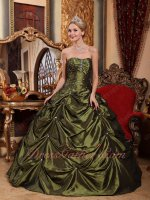 Floor-length Olive Green Taffeta Blug Quinceanera Military Ball Gown Special Price