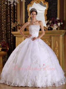 Spotlessly White Appliques Quinceanera Ball Gown Factory Real Products Picture