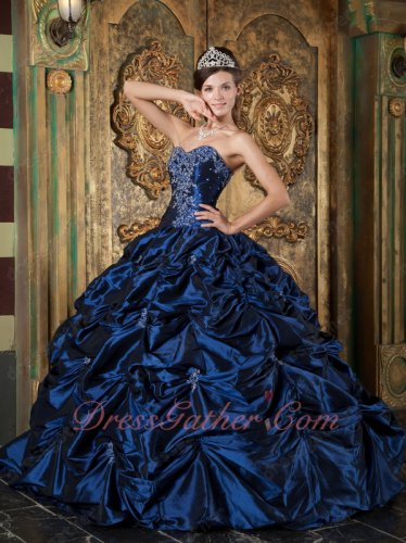 Dignified Bubble Picks-up Fluffy Navy Blue Taffeta Quinceanera Sweet 16 Court Gown