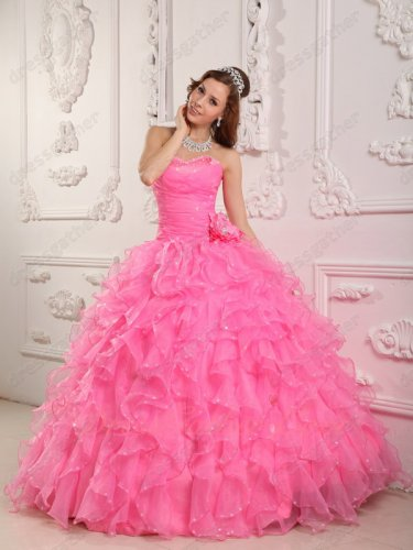 Hot Pink Dense Ruffles Curly Skirt Puffy Quinceanera Dress Buy From Factory Directly