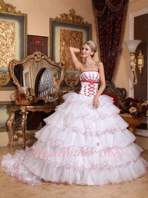 Vintage Cake Layers Detachable Train Quince Ball Gown White With Red Details