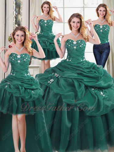 Separated Four Pieces DIY Detachable Hunter Green Pop Color Quinceanera Gown Sales