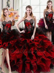 Bodice/Short/High Low/Ball Gown Four Parts Detachable Red Black Quinceanera Dress
