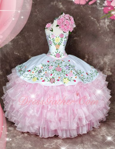 Sweetheart Vintage White & Pink Embroidery Sweet 16 Quinceanera Gown Western Style