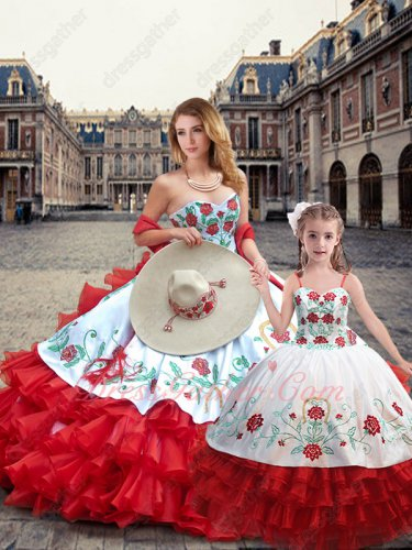 White Quince Ball Dress With Four-Layers Wave Red Skirt Ride Horse Two Pieces Sale