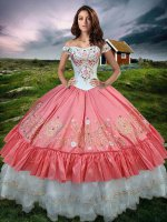 US Western Village Texas Roadhouse Swing White and Watermelon Quinceanera Gown Latest