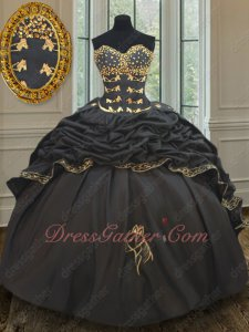 Western Village Horse Head Embroidery Bubble Train Black Quinceanera Gown Attractive