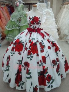 Printed Fabric Romantic Rose Flowers Floor Length Quinceanera Gown Special Unique