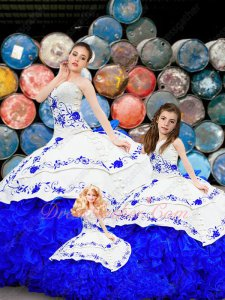 Western White and Royal Blue Quinceanera Gowns Families Suit Ball Gown/Flower Girl/Doll