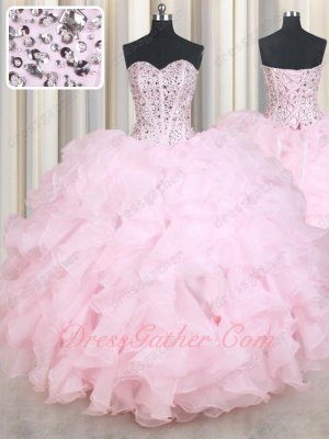 Pink Organza V-Shaped Waistline Ruffles Girls Quinceanera Ball Gown Adult Celebration