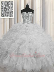Attractive Lines Corset Silver Organza Ruffles Quinceanera Ball Gown and Underskirt