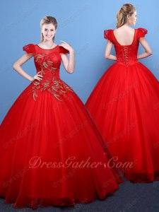 Beautiful Scoop Bubble Cap Sleeve Flat Tulle Red Stage Evening Ball Gown Scarlet