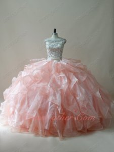 Scoop Off Shoulder Champagne Blouse Blush Organza and Tulle Ruffles Quince Ball Gown