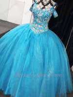 Spaghetti Straps Off Shoulder Sleeves Beaded Basque Sparkle Tulle Azure Quince Gowns