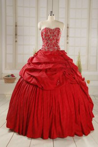 Embroidery Red Taffeta Court Ball Gown Dance Wear Amazon Style For Sale