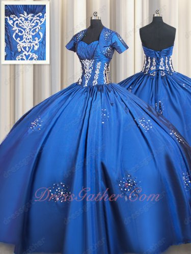 Royal Blue Flat Satin Silver Embroidery Western Military Ball Gown and Jacket Sales