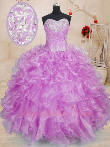 2019 Lilac Waterfall Wavy Ruffles Floor Length Quinceanera Ball Gown Vestido De