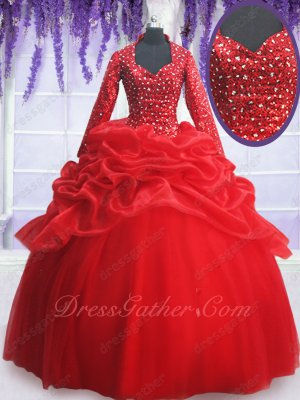 Square Long Sleeves Red Keep Warm Winter Quince Ball Gown Church Religious Not Exposed